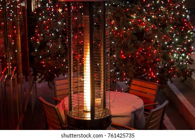Cozy table on the street in Christmas time, London