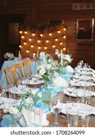 Cozy wedding dinner in a wooden house