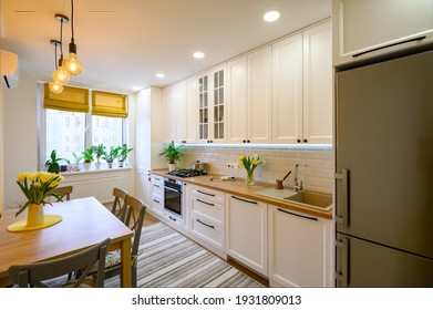 cozy well designed modern kitchen interior with appliances and dining table