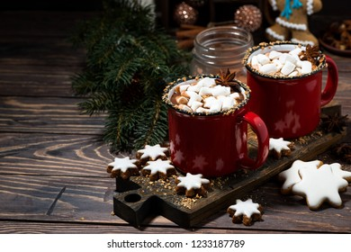 cozy winter drink hot chocolate on a wooden table, horizontal
