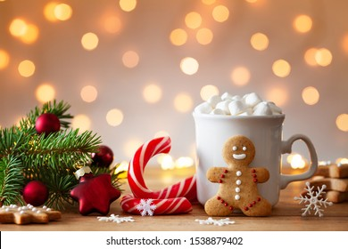 Cozy wintertime scene. Gingerbread man, cup of hot cocoa with marshmallow and Christmas fir branch.