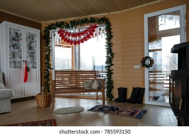 cozy wooden interior with fire place heating
