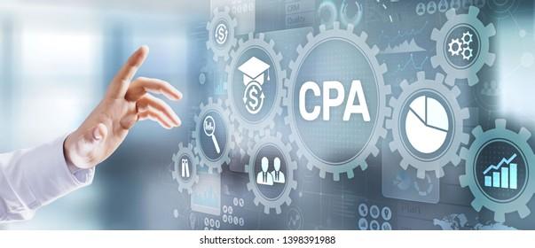 CPA certified public accountant audit financial business concept. Businessman pressing button.