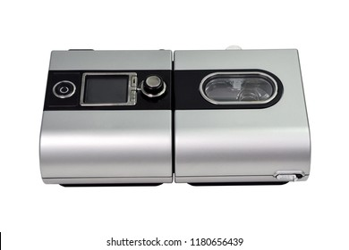 Cpap Continuous positive airway pressure system. Cpap machine with  white background and soft focus