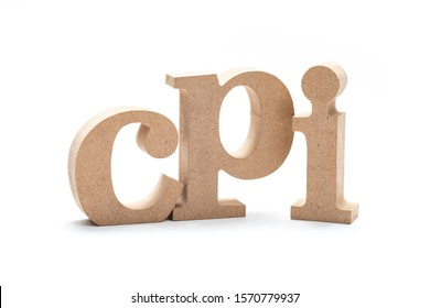 CPI acronym (Consumer Price Index) by wood alphabets isolated on white background