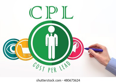 CPL. Cost per lead on white background. CPL sign.