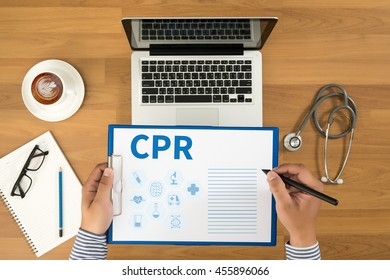 CPR      Cardiopulmonary resuscitation Basic life support ( BLS )and Advanced cardiac life support ( ACLS )( mouth to mouth Doctor writing medical records on a clipboard, medical equipment