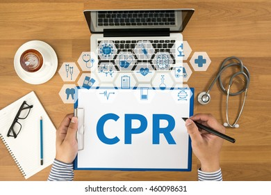 CPR      Cardiopulmonary resuscitation Basic life support ( BLS )and Advanced cardiac life support ( ACLS )( mouth to mouth Top view, Doctor writing medical records on a clipboard, medical equipment