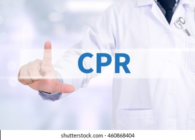 CPR      Cardiopulmonary resuscitation Basic life support ( BLS )and Advanced cardiac life support ( ACLS )( mouth to mouth Medicine doctor working with computer interface as medical