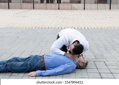 CPR phase of checking if the patient is breathing