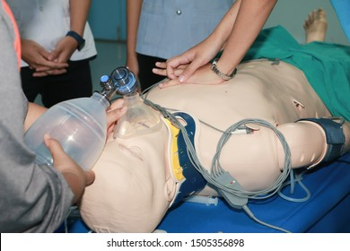 CPR Training Chest Compression on Manikin, CPR Training in emergency refresher training to assist of physician.