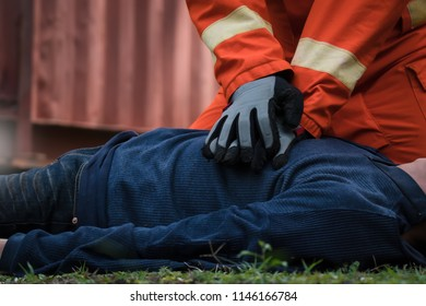 CPR training in  fire accident simulation