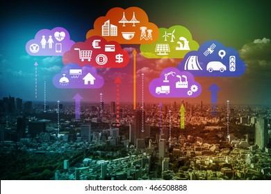 CPS concept abstract image, various information upload to cloud and analytical data download to real world, Cloud Computing, Internet of Things