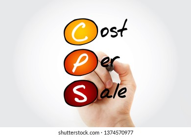 CPS - Cost Per Sale acronym with marker, business concept background