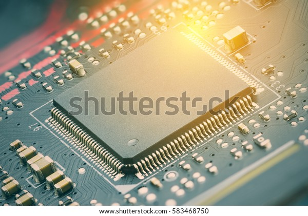CPU with blank surface for writing texts or phrase as needed. CPU is a heart of most electronic circuits that centralized all commands and processed them simultaneously. Electronic and digital concept
