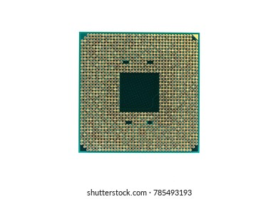 CPU, Central processing unit. Electronic component or integrated circuit (microprocessor), isolated on white background. Executes the machine instructions (code). Main part of the computer hardware.
