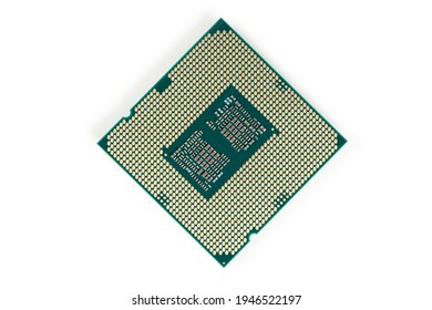 CPU Central Processing Unit or Microchip Computer isolated on white background.
