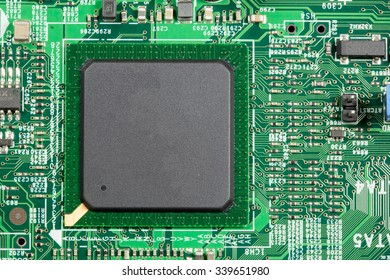 CPU chip close up chip on PCB