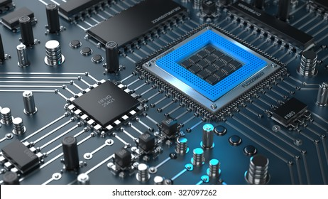 CPU. Electronic circuit chip on PC board. close up Technology background. High resolution 3d render
