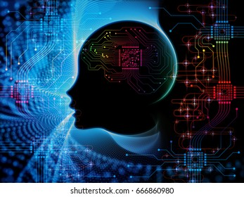 CPU Mind series. Arrangement of human face silhouette and technology symbols on the subject of computer science, artificial intelligence and communications