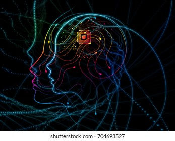 CPU Mind series. Design made of human face silhouette and technology symbols to serve as backdrop for projects related to computer science, artificial intelligence and communications
