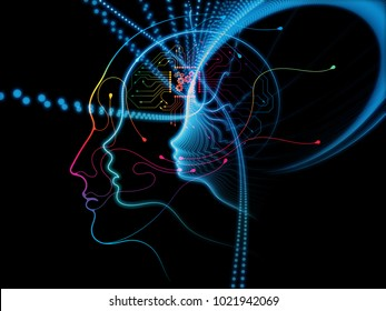 CPU Mind series. Visually pleasing composition of human face silhouette and technology symbols for works on computer science, artificial intelligence and communications