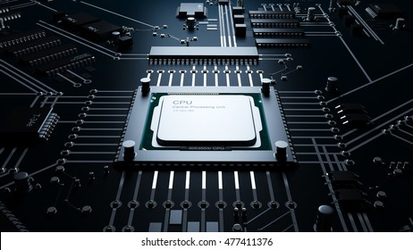Cpu on a motherboard. technology background. High resolution 3d render