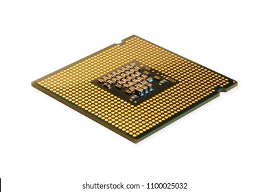cpu processor chip isolated on white
