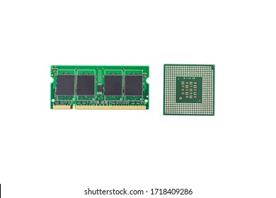 CPU and RAM isolated on a white background. CPU and RAM for a laptop. Set of RAM and processor.