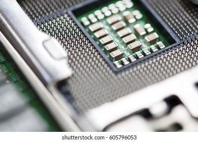 CPU server hold clip with a shallow depth of field