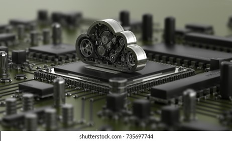 Cpu and steel cloud engine. High resolution 3D render