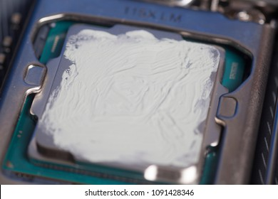 CPU with thermal paste applied.