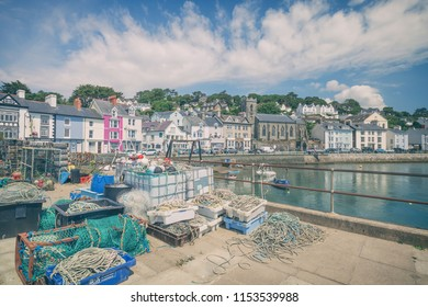 Crab creels and fishing nests in scenic historic village of Aberdovey in Wales, UK