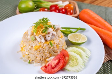 Crab Fried Rice close up - Fried rice thai style Asia Thailand