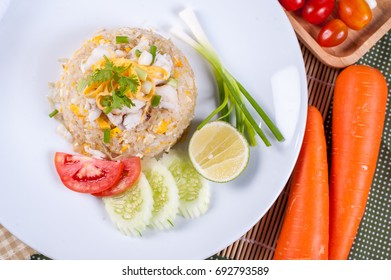 Crab Fried Rice top view close up - Fried rice thai style Asia Thailand