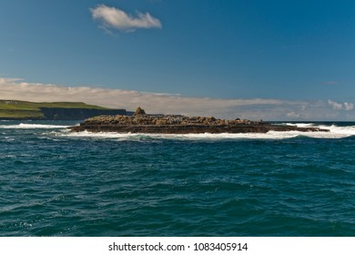 Crab Island in Doolin Harbor is barren with the exception of a single ruin, a 19th-century stone constabulary outpost.  The island is 0.13 miles at widest point.  County Claire, Ireland.