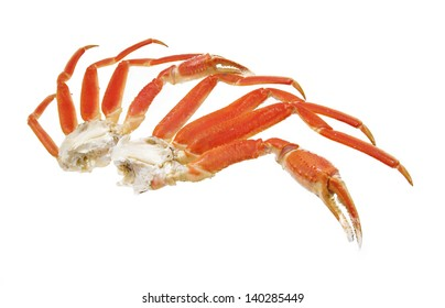 crab legs and claw .  seafood shellfish  studio closeup on white background