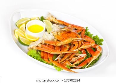 Crab legs with lemon