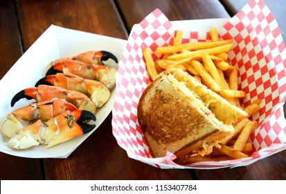 Crab legs and sandwich