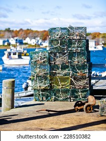 Crab or lobster pots on quayside in Maine