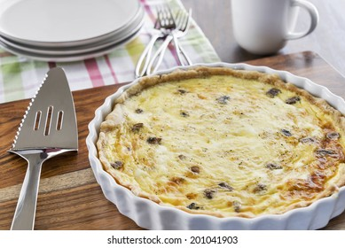 A crab and mushroom quiche is a delicious breakfast or brunch treat.