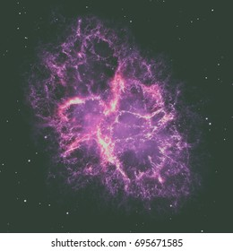Crab Nebula is a six-light-year-wide remnant of a star's supernova explosion. Elements of this image furnished by NASA.