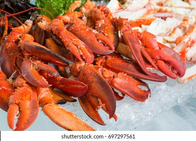 Crab on ice, Seafood buffet line in hotel restaurant