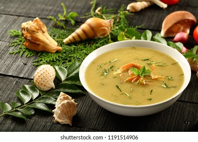 Crab pepper fresh cream soup- delicious appetizer from Asian cuisine.