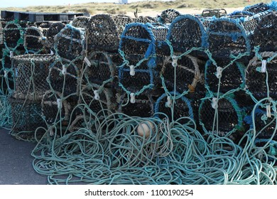crab pots on the harbour