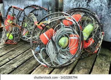Crab Pots on the Pier in Newport Oregon
