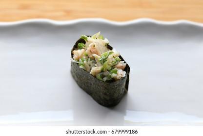 crab salad gunkanmaki sushi