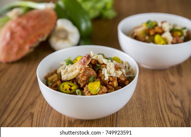 Crab Seafood Spicy Hot Jambalaya Bowl with Fresh Healthy Ingredients