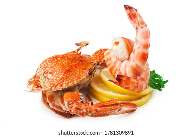 crab and shrimp on white background