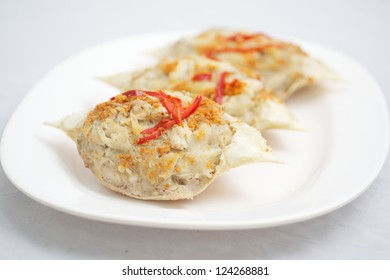 Crab skiff meat cooked in crab shell